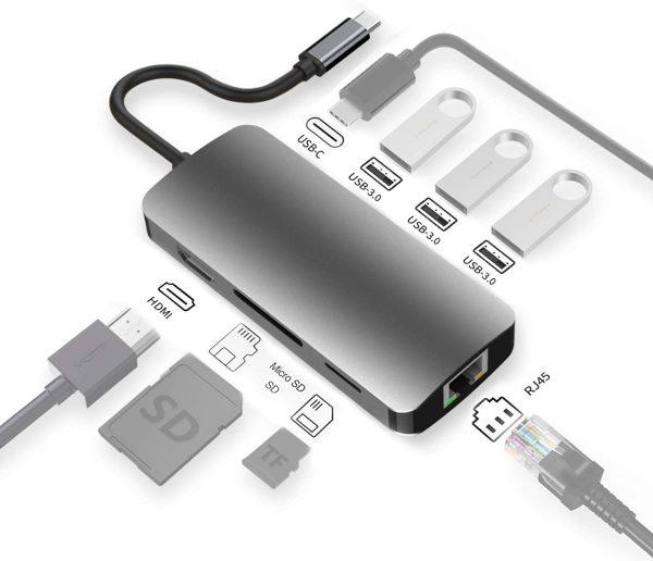 HEYMIX USB C Adapter Type c hub,HMDI Port, PD Charging, USB 3.0 Ports, Micro Sd/SD Card Reader, Gigabit Ethernet, for New MacBook 12, MacBook Pro, Dell XPS 13, Google Chromebook