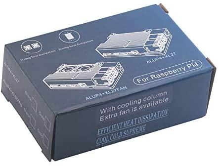 KEYESTUDIO Raspberry Pi 4 Case Heatsink Case with Cooling Heatsink Dual Fan for Raspberry Pi 4 Model B (Heliodor Gold)